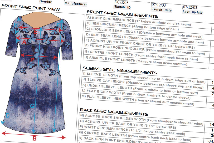 Technical Specification from pattern and sample (Pre-Production)